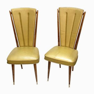 Beech and Beige Vinyl Dining Chairs from Ameublement NF, 1950s, Set of 2