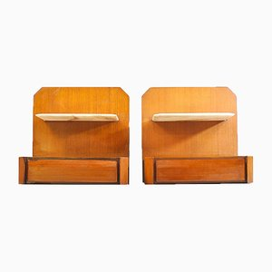 Wooden Wall Bedside Tables with Marble Tops, 1960s, Set of 2