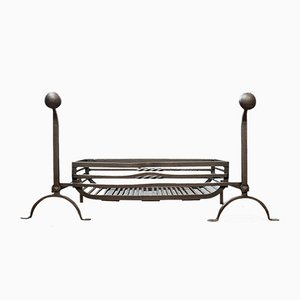 Large Antique English Wrought Iron Fireplace with Fire Basket & Andirons