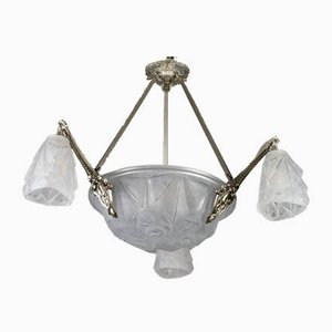 Art Deco Frosted Glass and Bronze Six-Light Chandelier from Verrerie D'Art Degué, 1920s