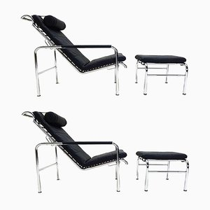 Black Leather and Chrome Reclining Lounge Chairs & Ottomans by Gabriele Mucchi, 1980s, Set of 4