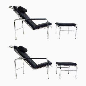 Lehnsessel & Fußhocker aus schwarzem Leder & Chrom von Gabriele Mucchi, 1980er, 4er Set