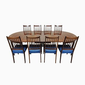 Rosewood Dining Table & Chairs Set by Arne Hovmand-Olsen, 1960s, Set of 9