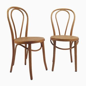Mid-Century Bentwood and Cane Desk Chairs from ZPM Radomsko, Set of 2