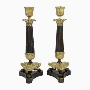 French Empire Style Bronze and Brass Candlesticks on Tripod Base, Set of 2