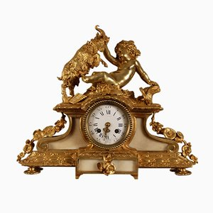 Gilt Bronze Mantel Clock With Mythological God Bacchus Decoration