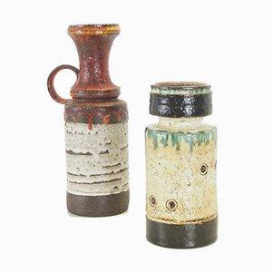 Mid-Century Brutalist Fat Lava Ceramic Vases, Set of 2