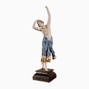 Art Deco Porcelain Figurine of A Dancer by Goldscheider, 1920s