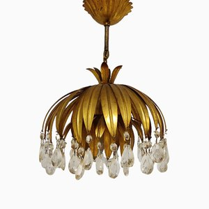 Gilt Metal Leaf Ceiling Lamp, 1960s