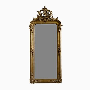 Antique Baroque Wall Mirror with Stucco Decorations