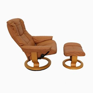 Brown Leather Consul Armchair & Ottoman by Kein Designer for Stressless, Set of 2