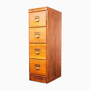Tall Oak 4-Drawer Filing Cabinet, Belgium, 1930s