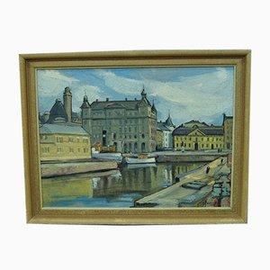 Hjalmar Larsson, Stockholm Cityscape, 1940s, Peinture à l'Huile
