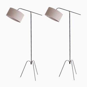 French Tripod Pendulum Floor Lamps from Arlus, 1950s, Set of 2