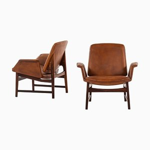 Danish Rosewood Model 451 Easy Chairs by Illum Wikkelsø for Aarhus Polstermøbelfabrik, 1958, Set of 2