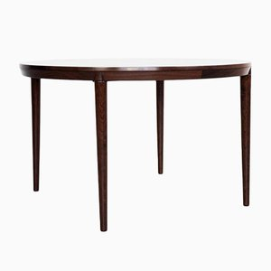 Mid-Century Danish Rosewood Round Dining Table with 2 Extensions, 1960s