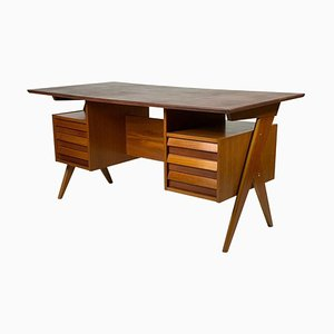 Mid-Century Italian 6-Drawer Writing Desk, 1950s