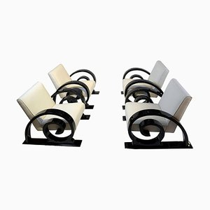 Art Deco Club Chairs in Black Piano Lacquer, France, 1930s, Set of 4
