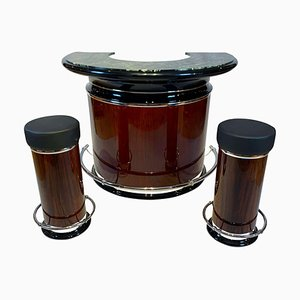 Rosewood Veneer Round Art Deco Bar with Marble Top & Stools, France, 1950s, Set of 3