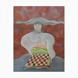 La Damier Rouge, Abstract Oil on Wood Painting, 1950-60s