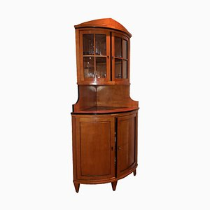 Biedermeier Bow-Fronted Corner Cabinet in Cherrywood