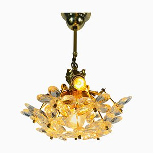 Golden Gilded Brass and Crystal Glass Chandelier from Palwa, Germany, 1960s