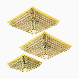 Gold-Plated Pyramide Flush Mounts from Venini, Italy, 1970s, Set of 3