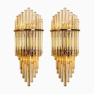 Large Modern Glass Rod Waterfall Sconces by Gaetano Sciolari for Lightolier, 1960s, Set of 2