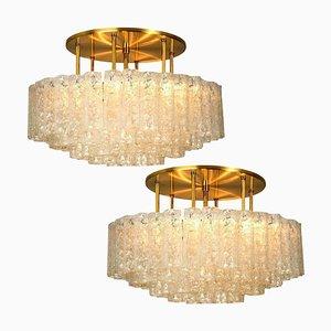 Large Blown Glass & Brass Flush Mount Light Fixtures from Doria Leuchten Germany, 1960s, Set of 2