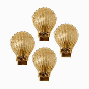 Murano Glass and Brass Seashell Sconces from Barovier & Toso, Italy, 1960s, Set of 2
