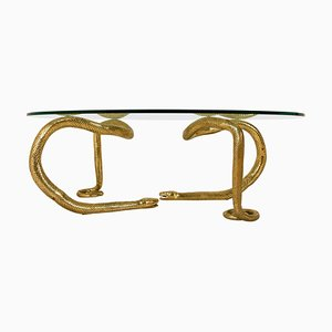 Brass Python Coffee Table Attributed to Alain Chervet, 1970s