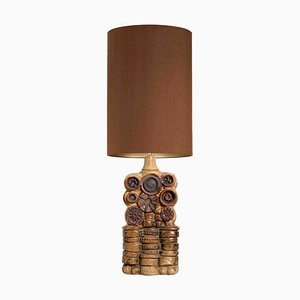 Ceramic Table Lamp with Silk Lampshade by Bernard Rooke, 1960s