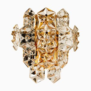 Large Gilt Brass Faceted Crystal Sconce from Kinkeldey, 1960s