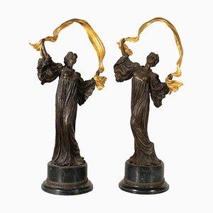 Bronze & Marble Base Dancer Sculpture