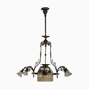Italian Liberty Bronze and Glass Chandelier
