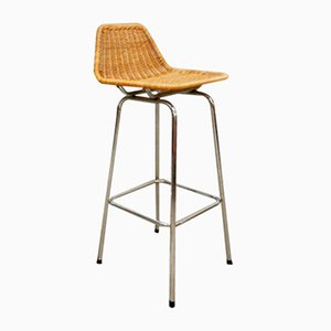Vintage Rattan Barstool by Rohe Noordwolde, 1960s