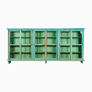 Large Wooden Display Case with Turquoise Patina, 1940s