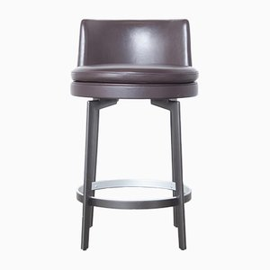 Italien Brown Leather Feel Good Stool by Antonio Citterio for FlexForm, 2010s