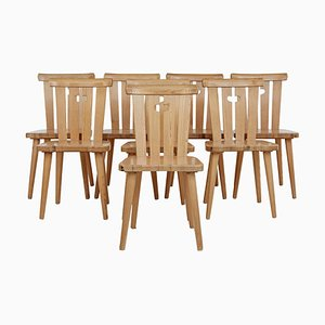 Mid-Century Swedish Pine Dining Chairs by Svensk, Set of 8