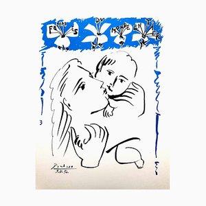 Mutter und Kind Lithographie nach Pablo Picasso, 1950