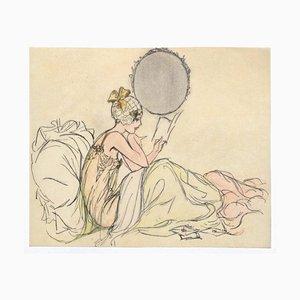 Figurine de Femme Original Encre et Pastel sur Papier