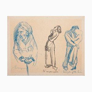 Three Figures with Subtitles Original Pen Drawing