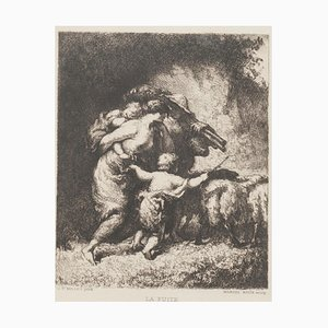 La Fuite Original Etching by Marcel Roux after J.F. Millet, 19th Century