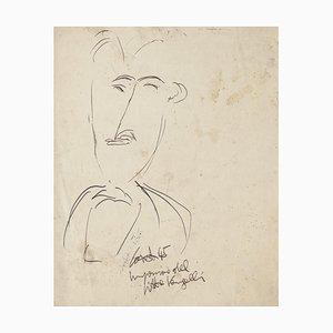 Man Figure Original Black China Ink Drawing by Antonio Vangelli