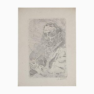 Selbstportrait Original Radierung auf Papier von Mino Maccari, 1930er