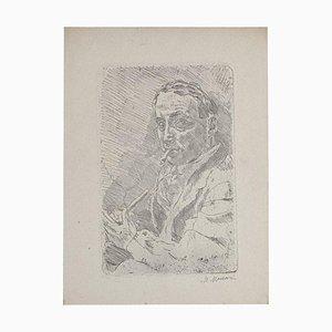 Self-Portrait Original Etching on Paper by Mino Maccari, 1930s