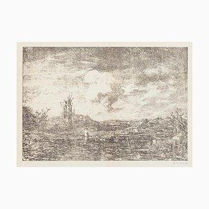 Landscape Lithograph by Antonio Fontanesi, 1880