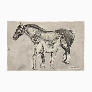 Horses Black Watercolor Ink Drawing by Germaine Nordmann