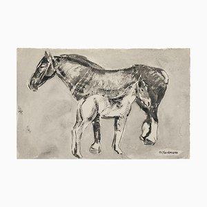 Schwarze Tintenzeichnung mit Pferden von Germaine Nordmann