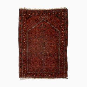 Antique Dark Red Geometric Afghan, 1950s